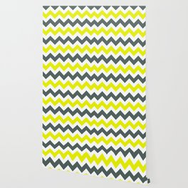 Chevron Pattern In Limelight Yellow Grey and White Wallpaper