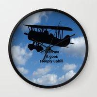 airplane Wall Clocks featuring airplane by Karl-Heinz Lüpke