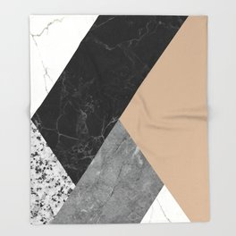 Black and White Marbles and Pantone Hazelnut Color Throw Blanket