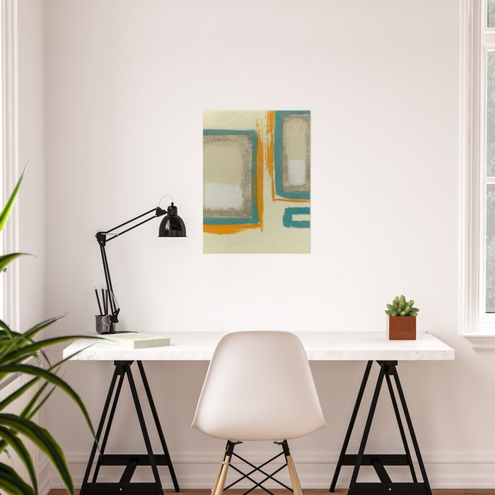 Soft And Bold Rothko Inspired - Modern Art - Teal Blue Orange Beige Poster