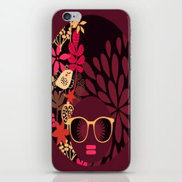 Afro Diva : Sophisticated Lady Deep Pink & Burgundy iPhone Skin