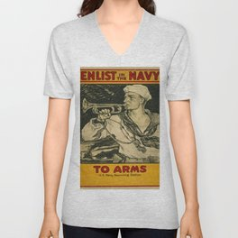 Vintage poster - Enlist in the Navy Unisex V-Neck