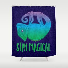 Stay Magical Levitating Chameleon Shower Curtain