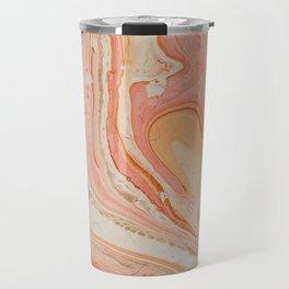 Orange Liquid Marble Travel Mug