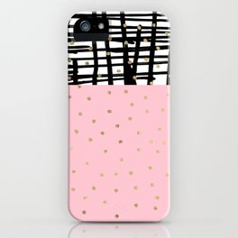 Modern geometrical black pink faux gold polka dots iPhone Case