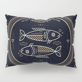 Pisces Zodiac Golden White on Black Background Pillow Sham