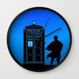 Tardis With The Third Doctor Wall Clock
