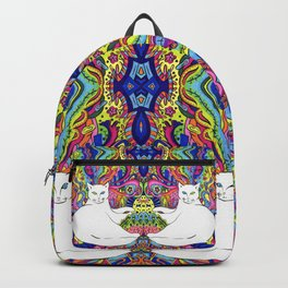 Psychedelic White Cat Backpack
