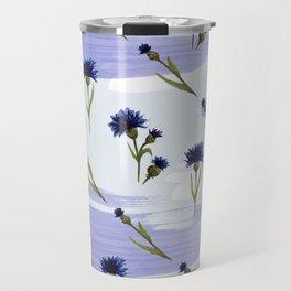 Blue cornflower watercolor pattern Travel Mug