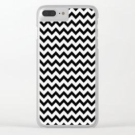 Black & White Zig Zag Pattern Clear iPhone Case