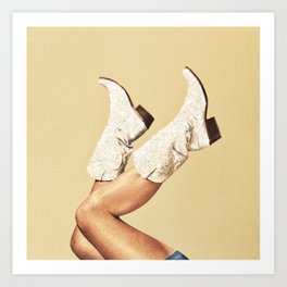These Boots - Glitter & Tan Art Print