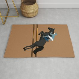 Jumping Black Horse and a Man Rug