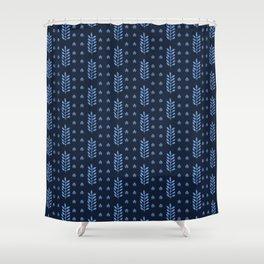 Indigo blue stylized ethnic leaf pattern. Shower Curtain