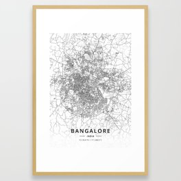 Bangalore, India - Light Map Framed Art Print