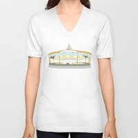 carousel V-neck T-shirts featuring Carousel - cream background by Little Moon Dance