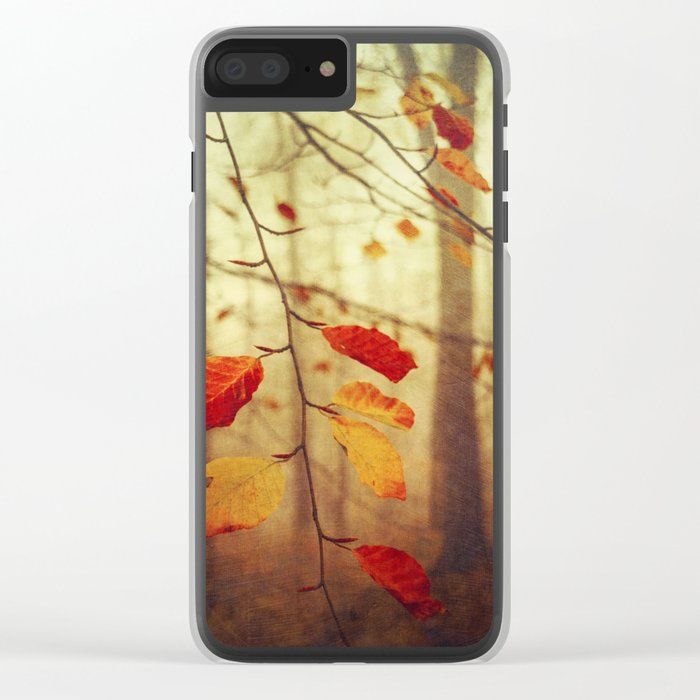Colourful Autumn Leaves Clear iPhone Case