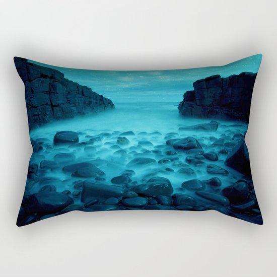 Blue Rocks Ocean and Stars Rectangular Pillow