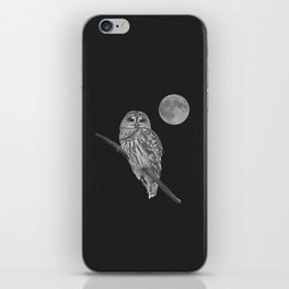 Owl, See the Moon (bw) iPhone Skin
