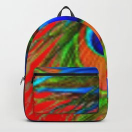 RED & BLUE-GREEN  BAROQUE  PEACOCK FEATHERS ART Backpack