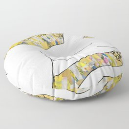 Nude with Yellow Flowers Floor Pillow