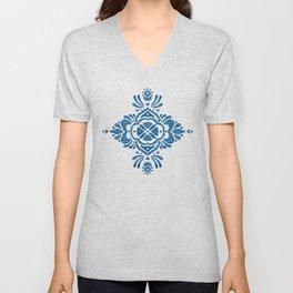 Blue Folk Design Motif Unisex V-Neck