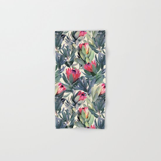 Painted Protea Pattern Hand & Bath Towel