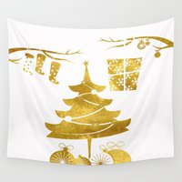 socks Wall Tapestries featuring Gold Christmas 03 by Aloke Design