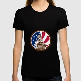 American Female Organic Farmer USA Flag Icon T-shirt