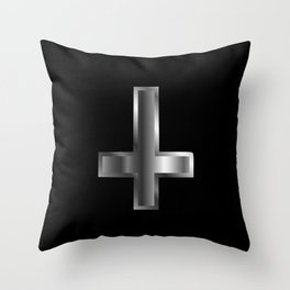 An inverted cross- The Cross of Saint Peter used as an anti-Christian and Satanist symbol. Throw Pillow
