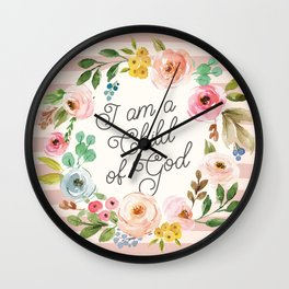 I am a Child of God Stripey Watercolor Floral Wall Clock