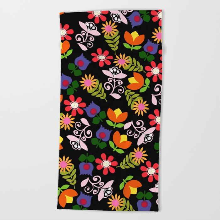 70s Flowers Beach Towel