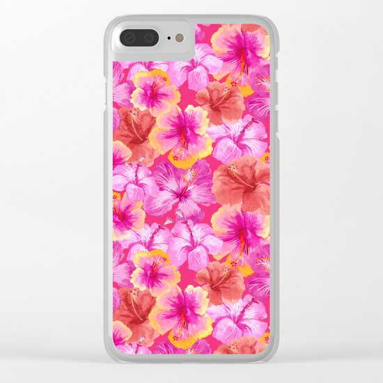 Tropical hibiscus flowers flower floral pattern on pink Clear iPhone Case