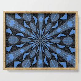 Blue Steel and Black Fragmented Kaleidoscope Serving Tray