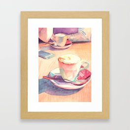 Two cups of coffee Framed Art Print