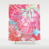 aelwen Shower Curtains featuring Blue Water Hibiscus Snowfall by Vikki Salmela