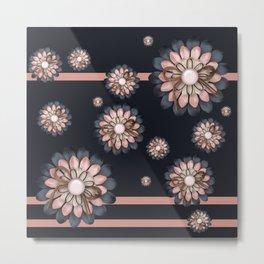 Pink and grey flowers Metal Print