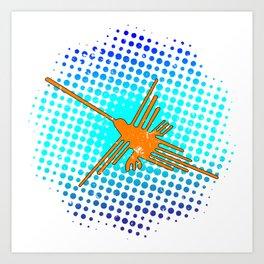 Distressed Nazca Lines Hummingbird On Gradient Blue Galaxy Art Print