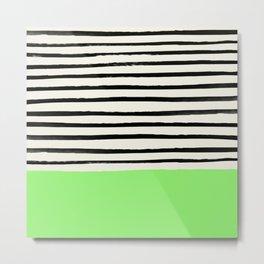 Key Lime x Stripes Metal Print