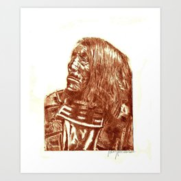 Native Etch in warm brown Art Print