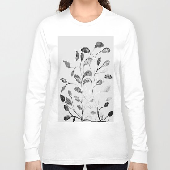 Red and Green Leaves! Romantic Silver Grey! Long Sleeve T-shirt