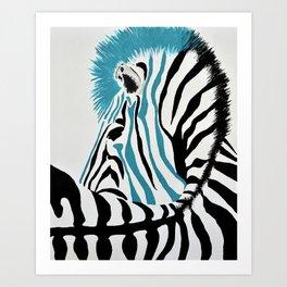 punk rock zebra Art Print