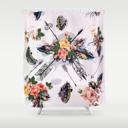 Be wild. Boho watercolor feathers. Fashion Shower Curtain