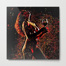 2375s-AB Nude Woman in Red with Wine Glass Abstract Feminine Power Flow Metal Print