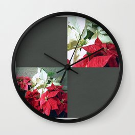 Mixed color Poinsettias 3 Blank Q6F0 Wall Clock