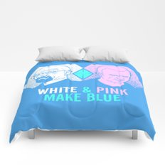 WHITE & PINK MAKE BLUE Comforters