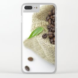 Coffee beans in still life  in jute sack Clear iPhone Case