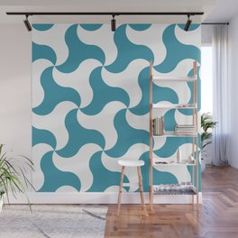 Teal shark tooth pattern for the beach Wall Mural