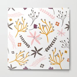Fall Floral Patten Metal Print