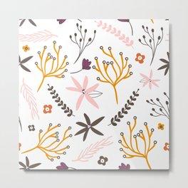 Fall Floral Patten Metal Print