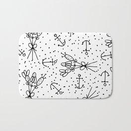Abstract black white nautical dots floral Bath Mat